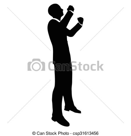 450x468 Businessman Silhouette In Gorilla Posev. Vector Image Clipart