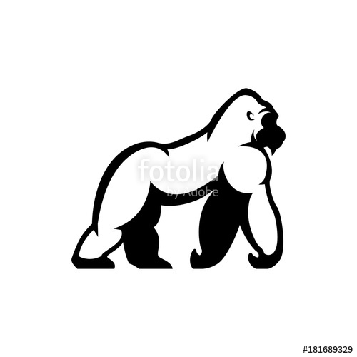 500x500 Vector Gorilla Silhouette Stock Image And Royalty Free Vector