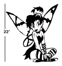 236x252 Goth Fairy Decal Sticker Wall Art Tinkerbell Day Of The Dead Dia
