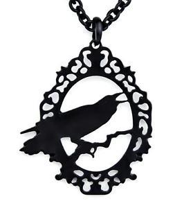 266x300 Black Raven Silhouette Necklace Edgar Alan Poe Pendant Elegant