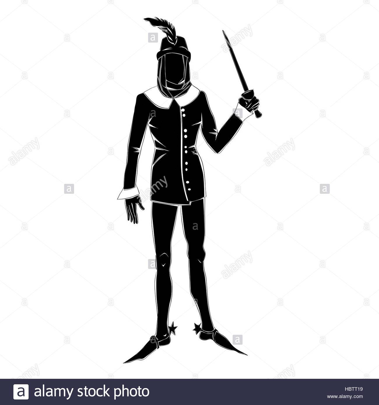 1300x1390 Gothic Costume Man Silhouette Stock Photo 127779493
