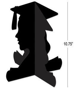 256x300 11 Graduation Girl 3d Black Silhouette Centrepiece Grad Party