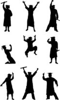 124x206 Celebrating Graduate Silhouettes Stock Vectors