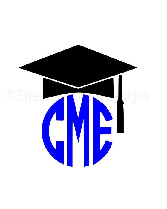 559x697 Monogram Graduation Cap Tassel Svg Instant Download Design