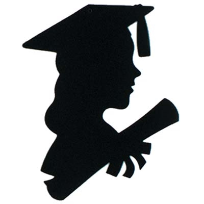 400x400 Girl Graduate Silhouette, 12 Inches