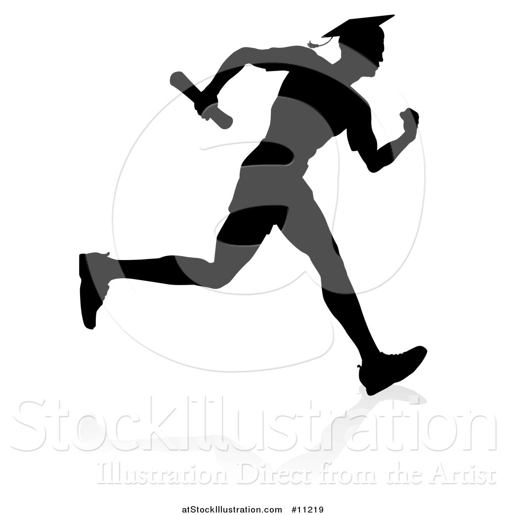 1024x1044 Vector Illustration Of Black Silhouetted Male Graduate Running