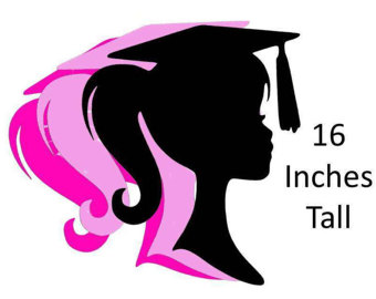 340x270 Graduation Cake Topper Girl Graduation Girl Silhouette Party