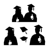 160x160 Celebration Of Happy Graduation Student Silhouette Stock Image
