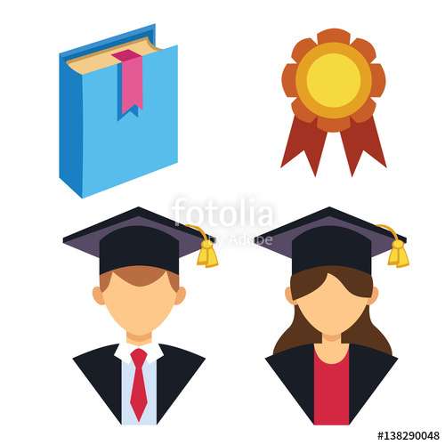 500x500 Graduation Man And Woman Silhouette Uniform Avatar Vector