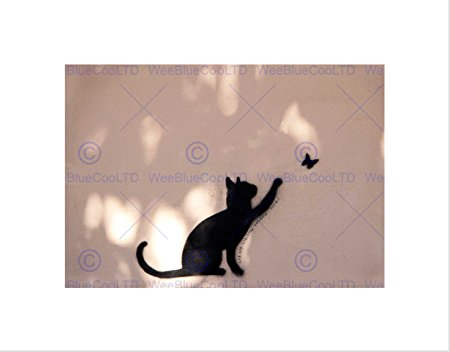 450x352 Cat Butterfly Silhouette Graffiti Black Frame Framed Art Print