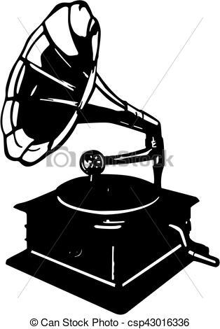 314x470 Vector Illustration Of Retro Gramophone Isolated On White