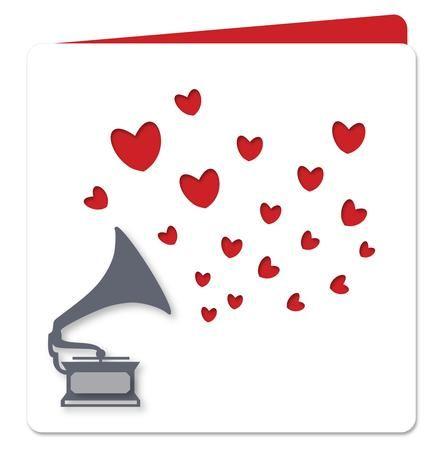 448x450 Vintage Gramophone Love Hearts Card Svg Dxf Pdf Files