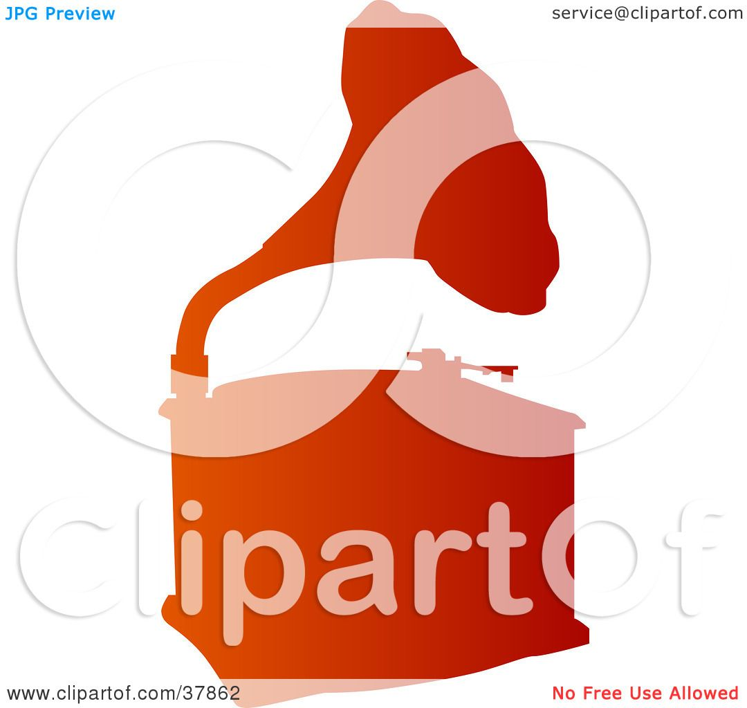 1080x1024 Clipart Illustration Of A Gradient Orange Phonograph Silhouette By