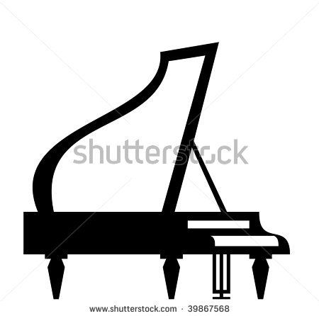 450x446 Grand Piano Silhouette Isolated On White Background, Vector