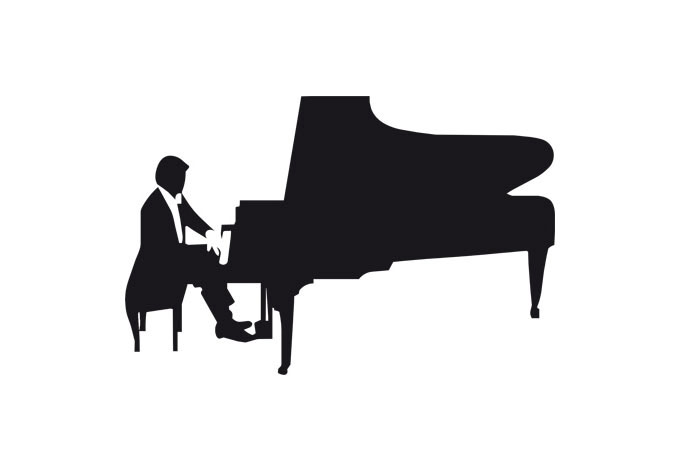 680x472 Piano Player Wall Decal