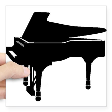 460x460 Black Grand Piano Stickers