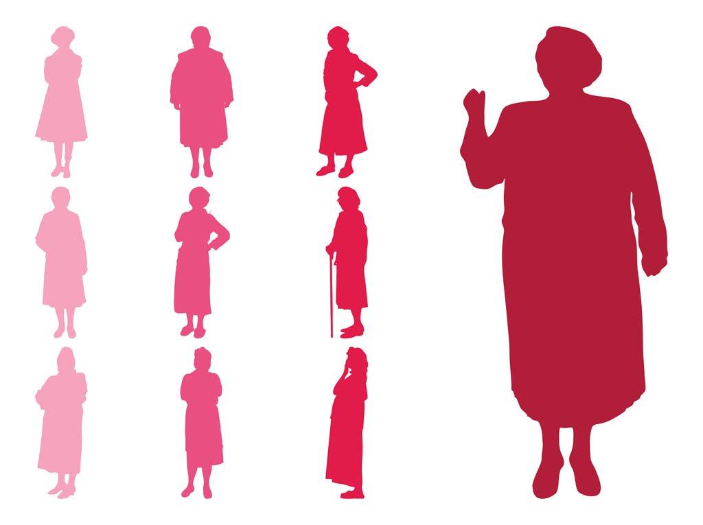 1024x765 Elderly Women Silhouettes Vector Art Amp Graphics