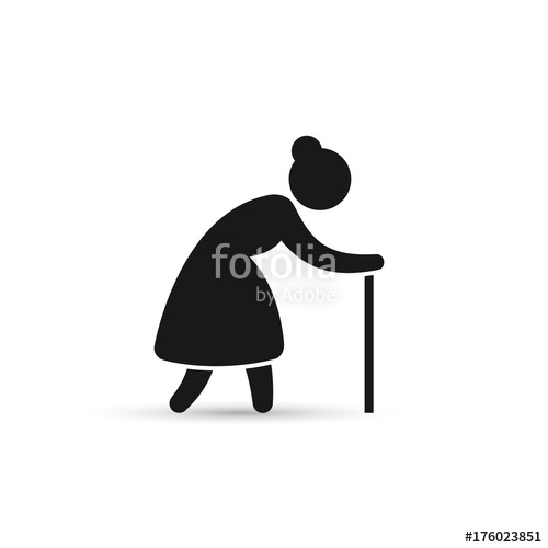 500x500 Old Woman Icon. Grandmother Silhouette Vector Icon Stock Image