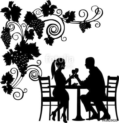 485x500 Background With Grapes And Romantic Couple In Restaurant Stock
