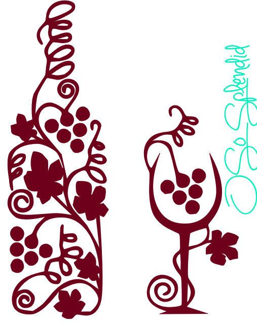 507x645 Decorative Wine Glass And Bottle