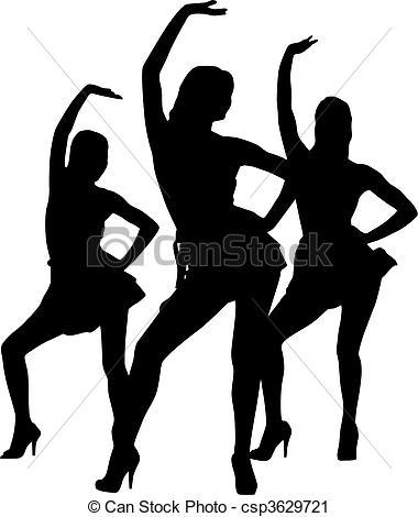 380x470 Silhouette Women Dance. Silhouette Dancers Vector Clip Art