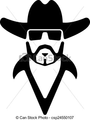 353x470 Bearded Man Silhouette. Bearded Man In A Hat And Sunglasses Vector