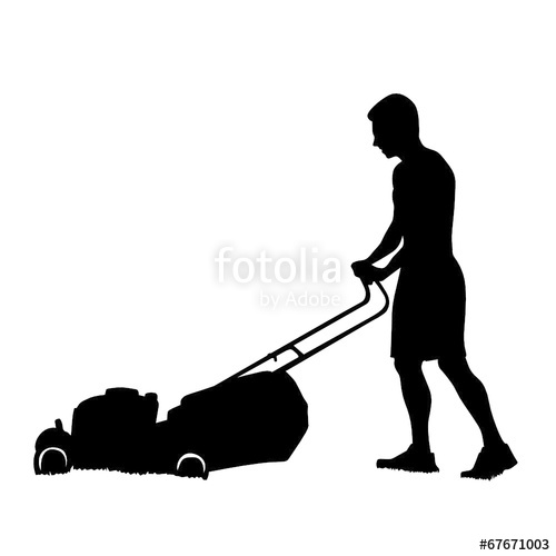 500x500 Man Cutting The Grass With Lawn Mower Vector Silhouette Stock