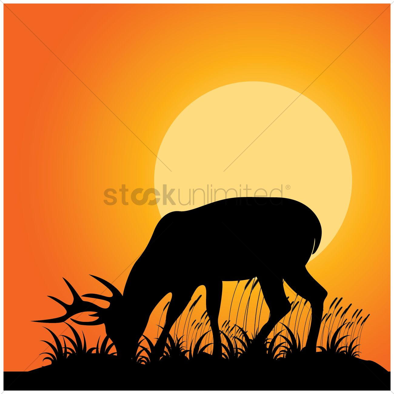 1300x1300 Silhouette Of Reindeer Eating Grass Vector Image