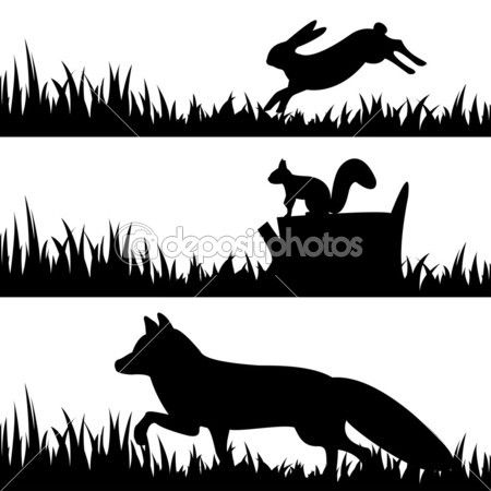450x450 Set Silhouettes Of Animals In The Grass. Silhouettes 2