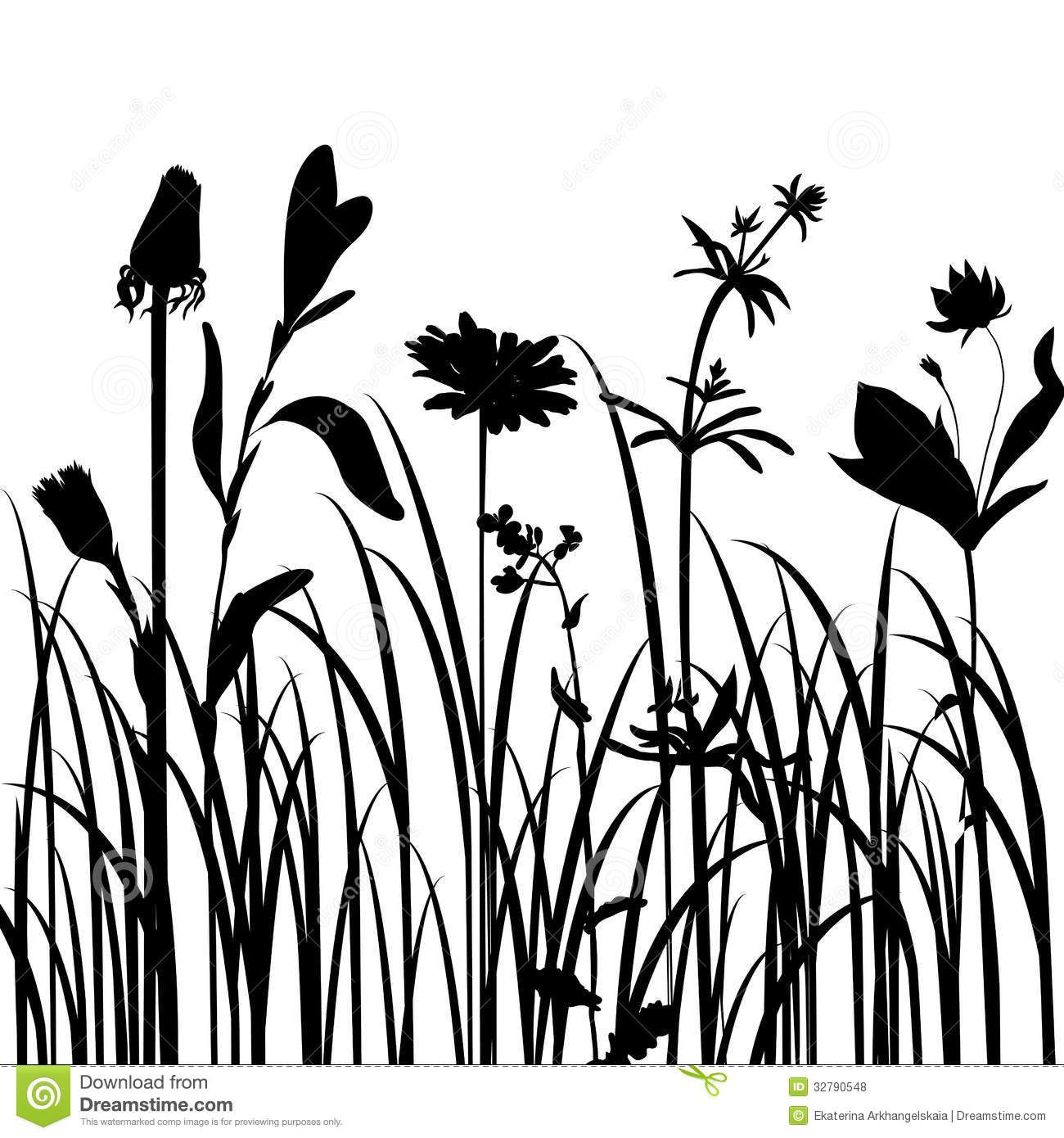 1300x1390 Silhouettes Of Flowers And Grass Royalty Free Stock Photos