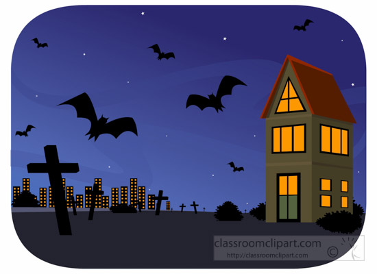 550x400 Halloween Clipart Dark Scary Night Background With Bats Flying