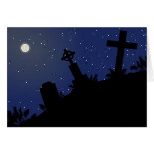 307x307 Halloween Graveyard Silhouette Cards