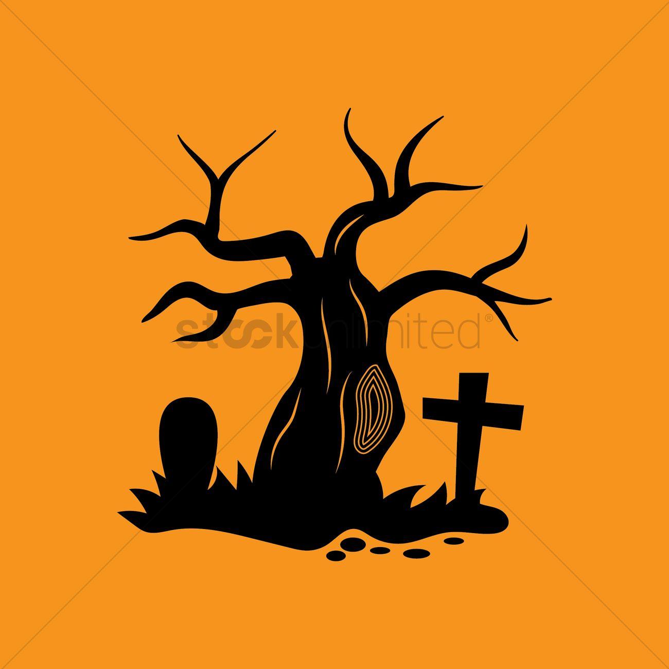 1300x1300 Bare Tree In Graveyard Vector Image