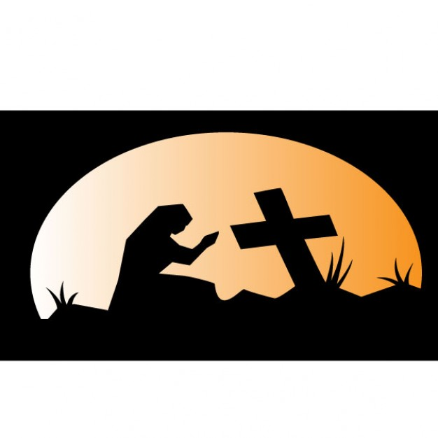 626x626 Pray In The Graveyard Vector Illustration Vector Free Download