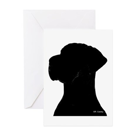 460x460 Great Dane Silhouette Greeting Cards