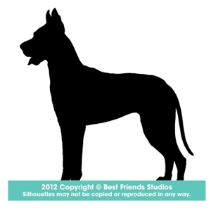 300x300 Great Dane Dog Silhouette Gifts, Stationery, Address Labels Amp Note