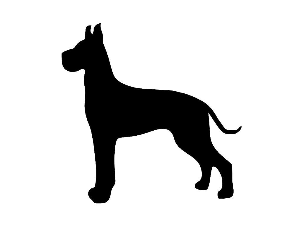 1024x768 Great Dane Cropped Ears Dog Breed Silhouette Custom Die Cut