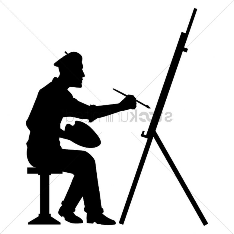775x774 Best Hd Painter Silhouette Vector Images Vector Images Stocks
