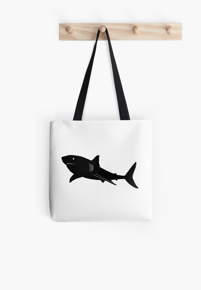 831x1200 Great White Shark Silhouette (Black) Tote Bags By
