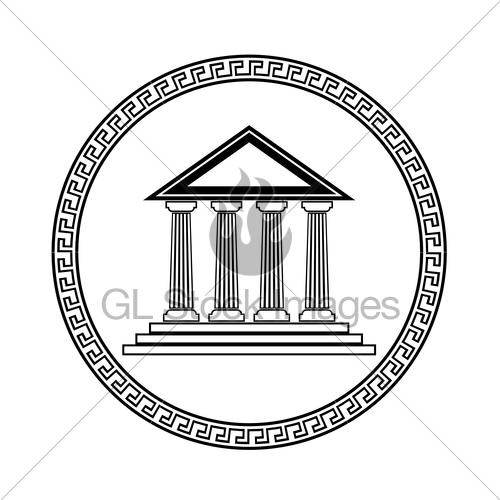 500x500 Greek Black Silhouette Temple Gl Stock Images