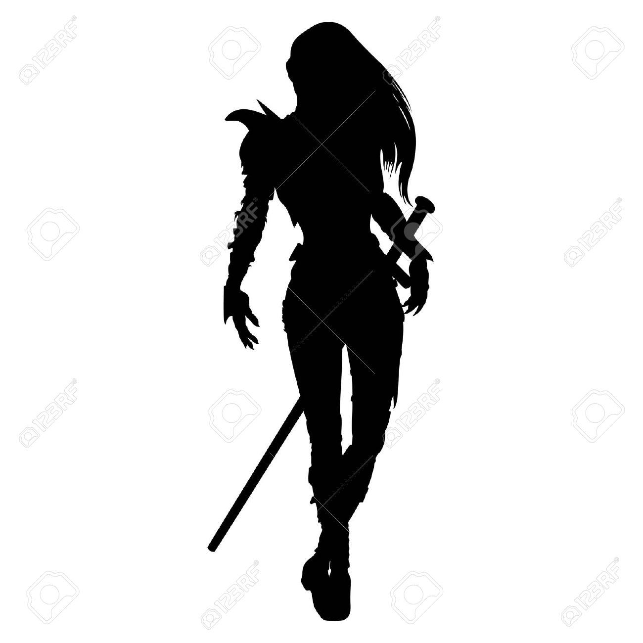 1300x1300 Woman Warrior Clipart Silhouette