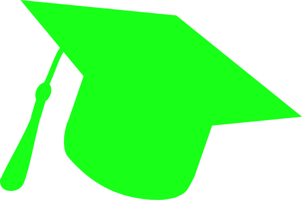 600x398 Graduation Hat Silhouette Green Clip Art
