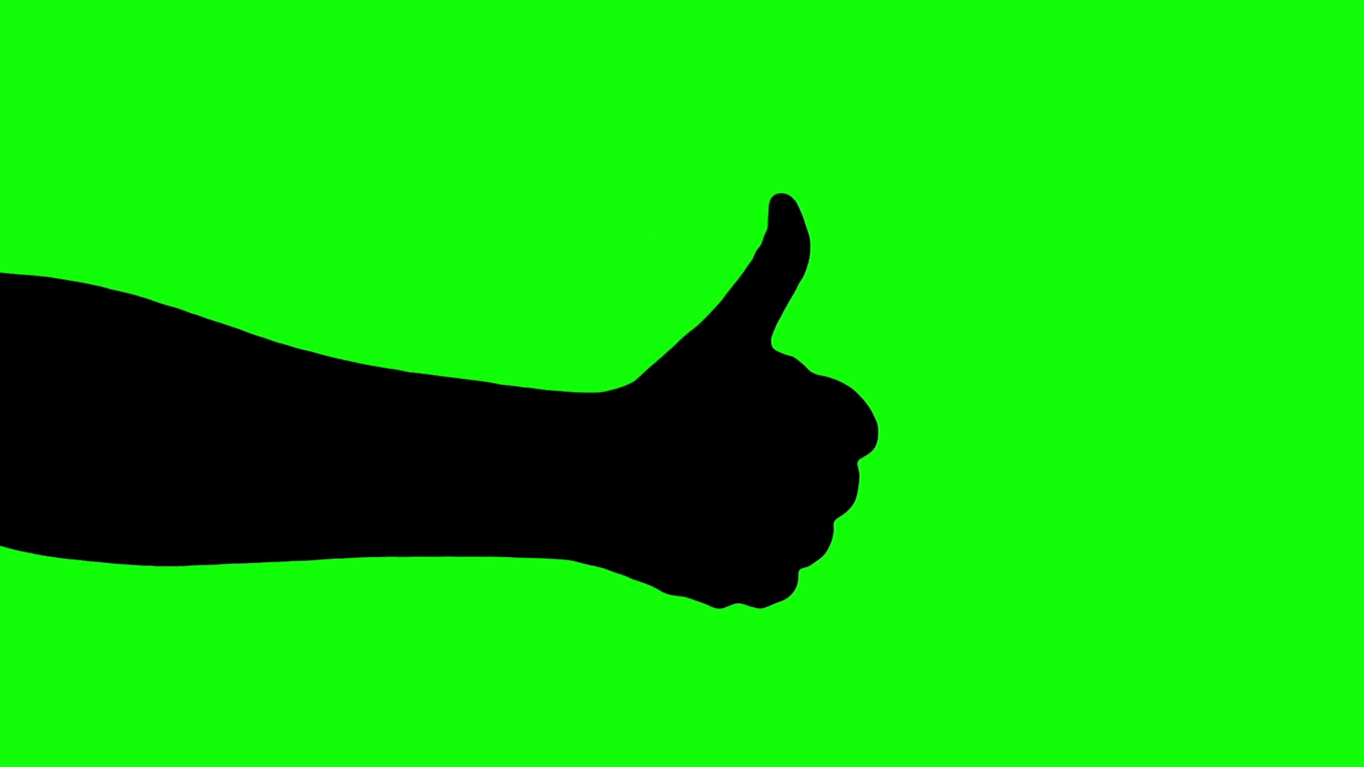 1920x1080 Male Hand Thumb Up Or Like Sign Silhouette Isolated Green Screen