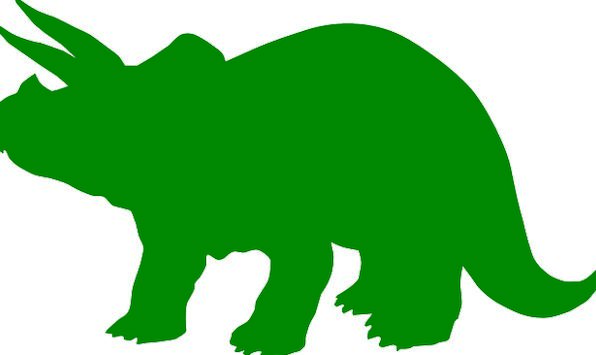 596x355 Triceratops, Relic, Silhouette, Outline, Dinosaur, Green, Lime