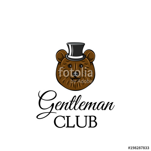500x500 Bear Gentleman. Top Hat. Brown Bear Head. Gentleman Club Text