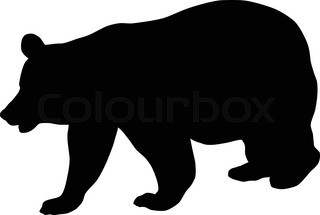 320x215 Bear Silhouette On Old Paper, Vector Illustration Stock Vector
