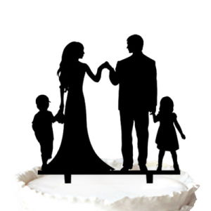 300x300 China Silhouette Groom And Bride With Two Kids Anniversary Cake