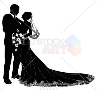 340x321 Stock Illustration Of Bride And Groom Silhouette Black On White Vector