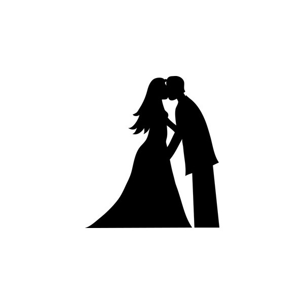 600x600 Bride And Groom Clipart Image