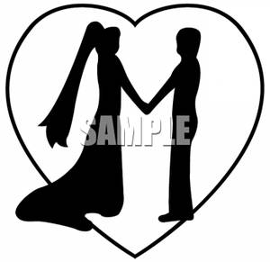 300x291 Of A Brid And Groom Holding Hands In A Heart